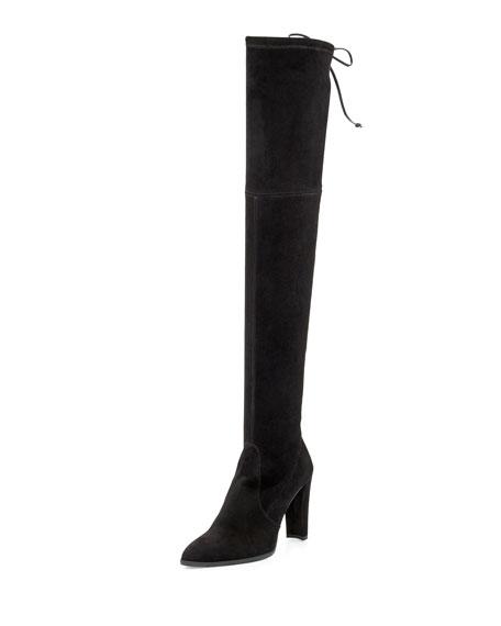 Highstreet Suede Over-the-Knee Boot, Black