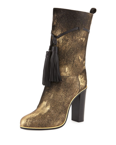Metallic Calf-Hair Tassel Boot, Aged Gold