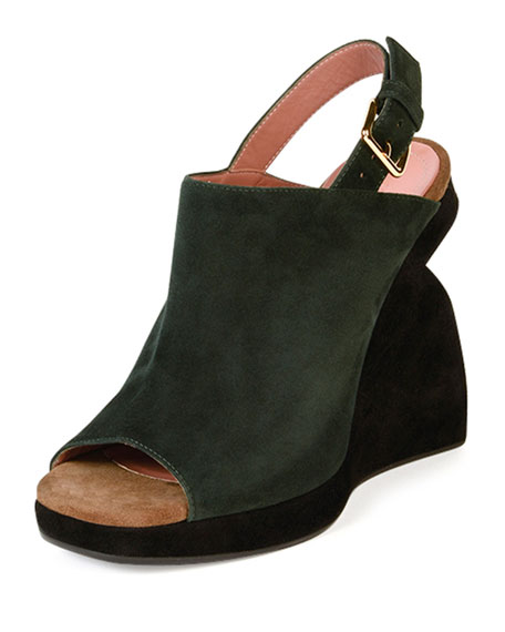 Marni Suede Curved-Wedge Slingback Sandal, Dark Sea
