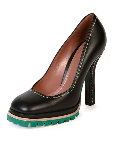 Leather Tread-Sole Pump, Coal/Green