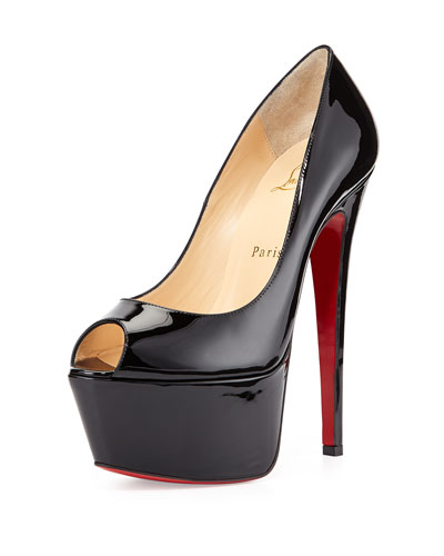 Jamie Platform Red Sole Pump, Black