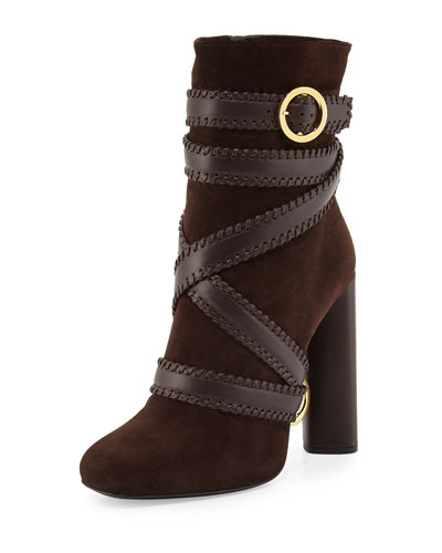Belted Suede Ankle Boot, Dark Brown
