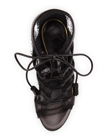 Eyelash-Fringed Lace-Up Sandal, Black