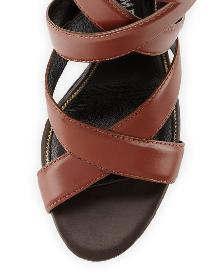 Image 3 of 4: Two-Tone Ankle-Wrap Sandal, Dark Brown