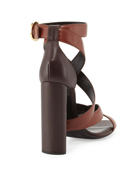 TOM FORD Two-Tone Ankle-Wrap Sandal, Dark Brown