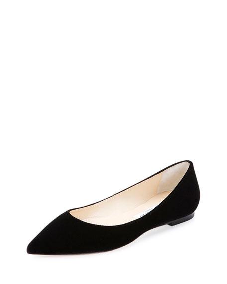 Alina Velvet Ballerina Flat, Black