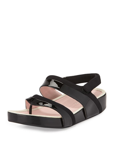 Avin Patent Leather Sandal, Black