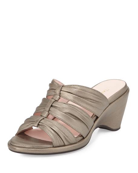 Taryn Rose Maison Metallic Napa Sandal, Quartz