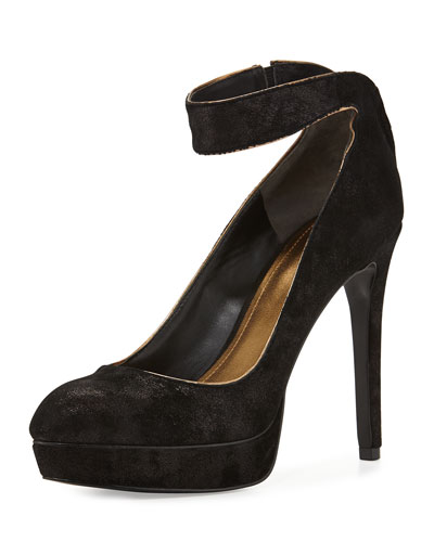 Avi Platform Pump with Ankle Strap, Black