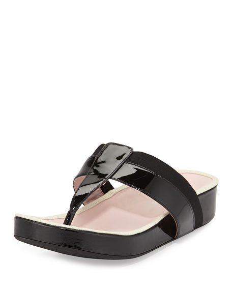 Taryn Rose August Patent Thong Sandal, Black