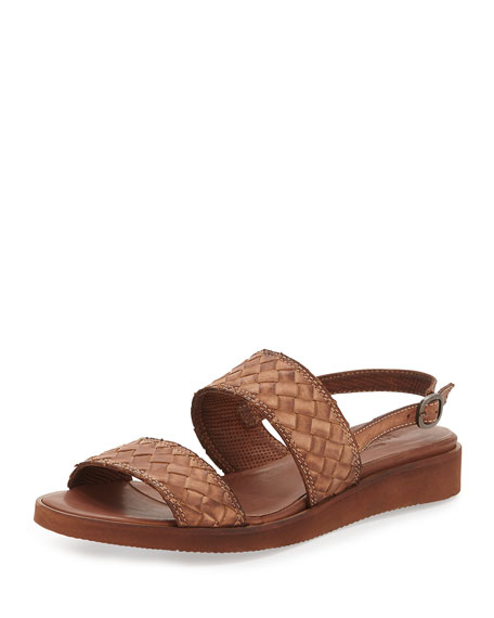 Sesto Meucci Greta Woven Leather Sandal, Dark Tan