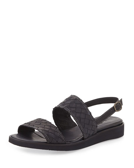 Sesto Meucci Greta Woven Leather Sandal, Black