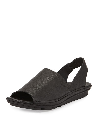 Edge Leather Slingback Sandal, Black