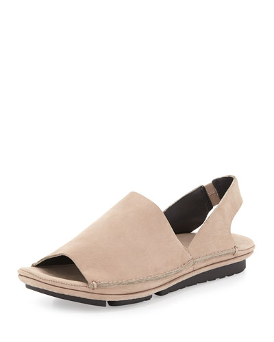 Edge Leather Slingback Sandal, Mushroom