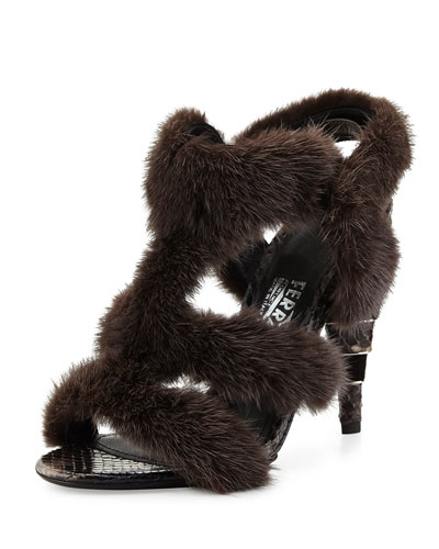 Larix Mink Fur Sandal, Cendre