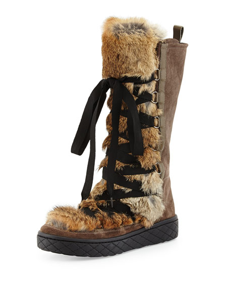 Moncler Zoelie Lace-Up Fur Boot, Brown