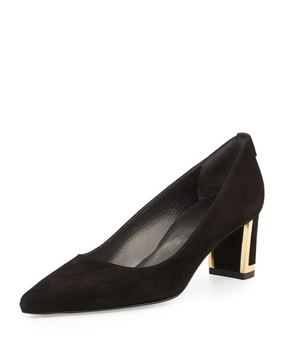 Logo Firstclass Pump with Metal Detail, Black