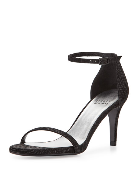 Stuart Weitzman Naked Low-Heel Sandal, Black