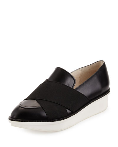 Greer Leather Crisscross Loafer, Black