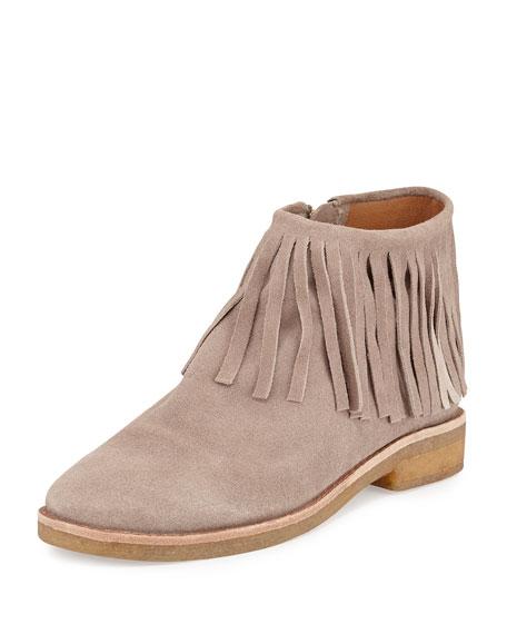 betsie suede flat fringe ankle boot, truffle