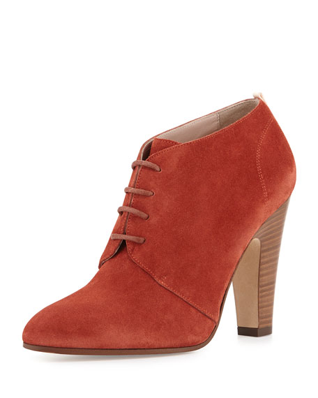 Kilcar Lace-Up Suede Bootie, Brick