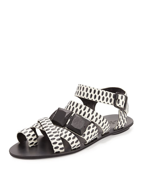 Loeffler Randall Sedona Embossed-Circles Sandal, Cream/Black