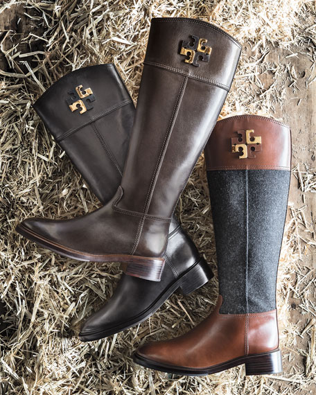 281695cfd6a spain tory burch lowell logo riding boot charcoal espresso neiman marcus  08c66 dcea1