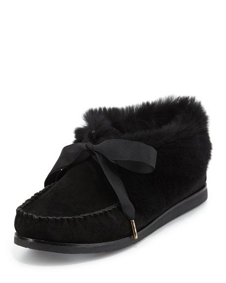 Tory Burch Aberdeen Fur-Lined Slipper, Black