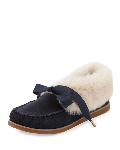 Aberdeen Fur-Lined Slipper, Tory Navy/Natural