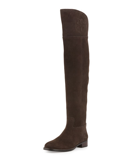 Tory Burch Simone Over-the-Knee Suede Boot, Cafe