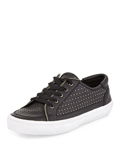 Sander Studded Leather Low-Top Sneaker, Black