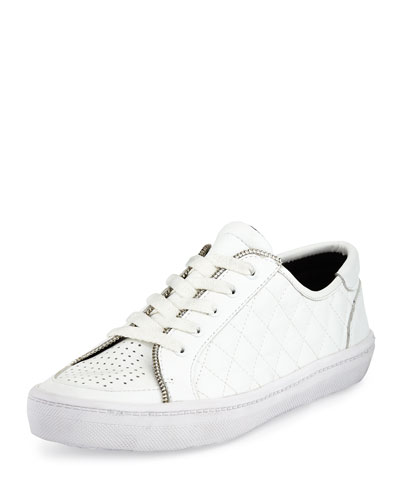Sander Too-Quilted Low-Top Sneaker, White