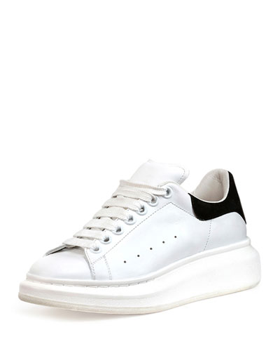 Leather Platform Sneaker, White/Black