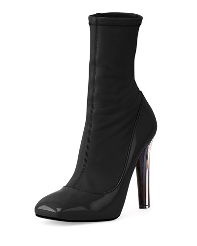 Stretch High-Heel Ankle Boot, Black
