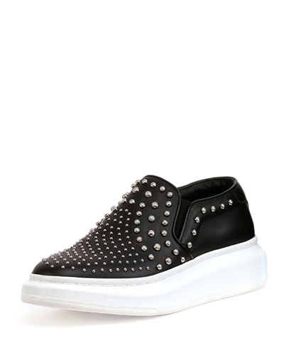 Studded Leather Slip-On Sneaker, Black