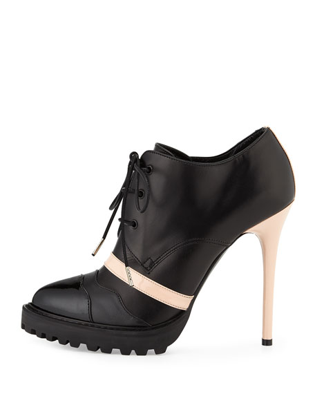 Image 2 of 3: Leather High-Heel Lace-Up Bootie, Black/Teint