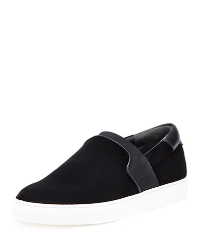 Velour Slip-On Sneaker, Black