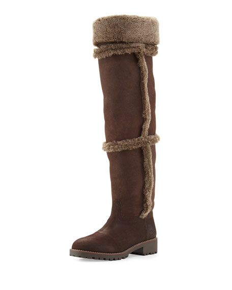Tory Burch Talouse Shearling Tall Boot, Coconut