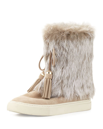 Anjelica Fur-Cuff Boot, Dark Knot