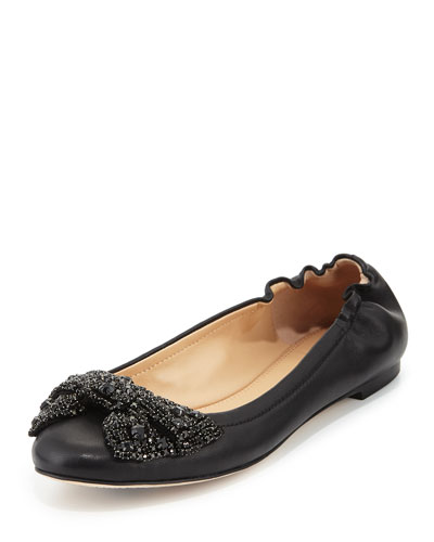 Bonneville Jewel-Bow Ballerina Flat, Black