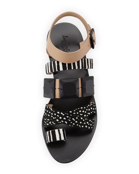 Sedona Multi-Print Calf-Hair Sandal, Wheat/Black/White
