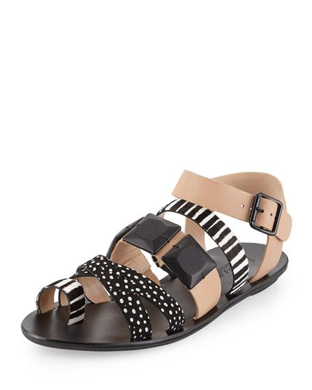 Loeffler RandallSedona Multi-Print Calf-Hair Sandal,