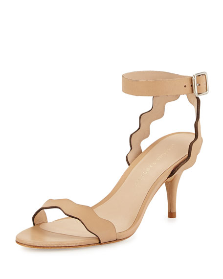 Loeffler Randall Reina Wavy-Strap Leather Sandal, Wheat