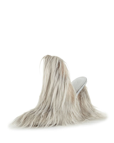 Faux-Fur Mule Pump, Gray