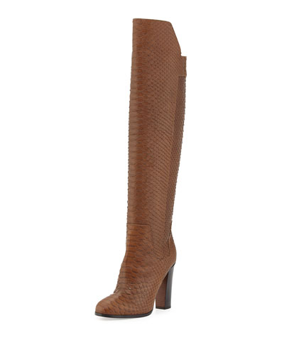 Dempsey Over-the-Knee Python-Print Boot, Rattan
