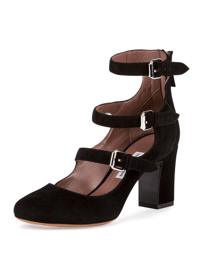 Ginger Suede Triple-Buckle Pump, Black