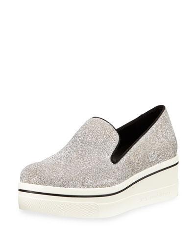 Shimmer Platform Slip-On Sneaker, Osmium/Black