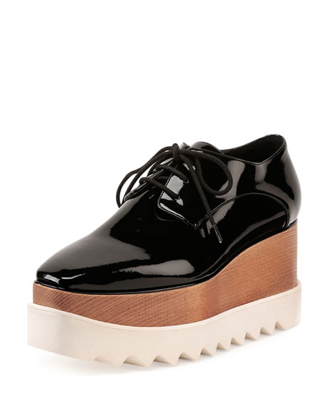 Stella McCartney Faux-Patent Lace-Up Loafer, Black
