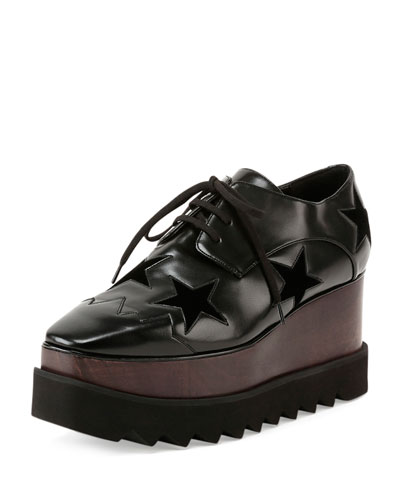 Elyse Stars Faux-Leather Platform Creeper, Black