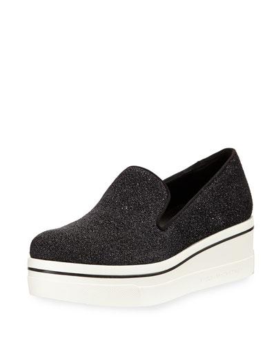 Shimmer Platform Slip-On Sneaker, Black